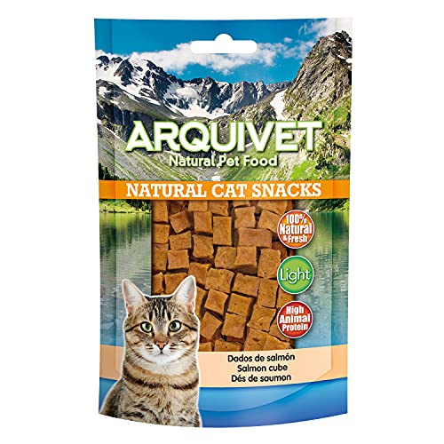 ARQUIVET Dados de salmón Pack 24 Unidades x 50 gr - Natural Cat Snacks, Snacks para Gatos 100% Naturales - Chuches, premios, golosinas y recompensas para felinos