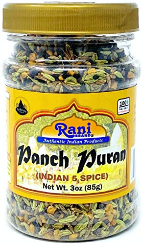 Rani Panch Puran (5 Spice) 3oz (85g) ~ All Natural | Vegan | Gluten Free Ingredients | NON-GMO | Indian Origin (Equal Blend of Fenugreek, Mustard, Kalonji/Nigella, Fennel and Cumin)