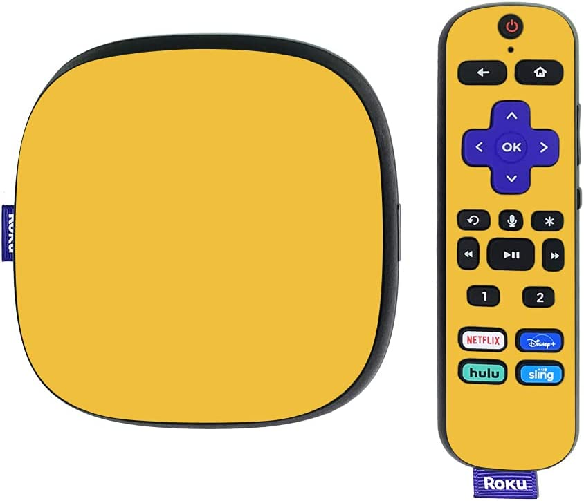 MightySkins Skin Compatible with Roku Ultra HDR 4K Streaming Media Player (2020) - Solid Marigold | Protective, Durable, and Unique Vinyl Decal wrap Cover | Easy to Apply | Made in The USA