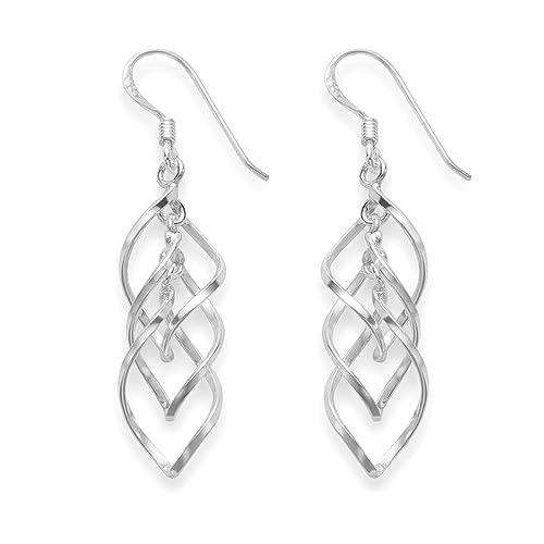 18015fa63 Sterling Silver double twist hoop drop earrings - SIZE: 31mm x 10mm. Gift  boxed