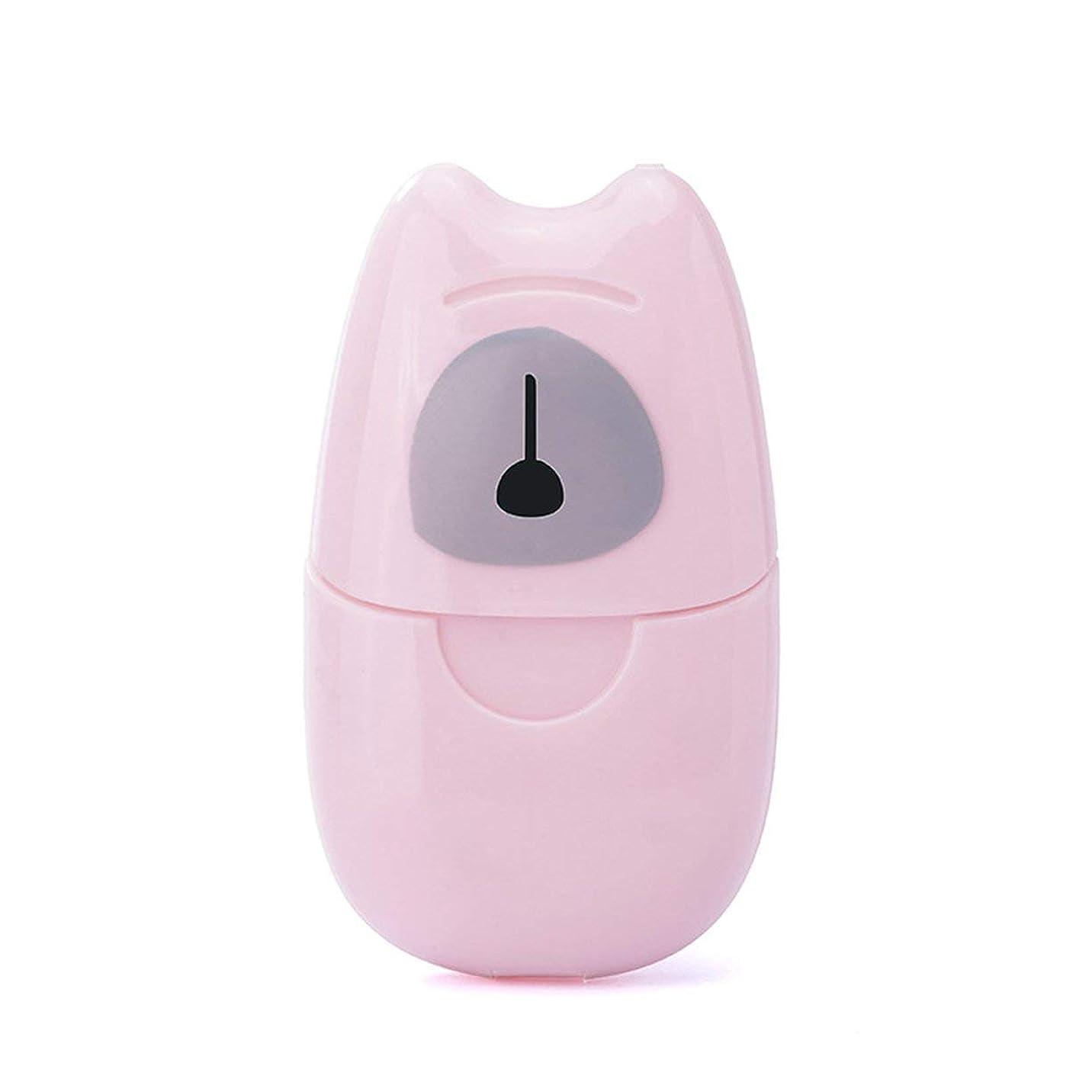 そよ風邪魔するにやにや箱入り石鹸紙旅行ポータブル屋外手洗い石鹸香料入りスライスシート50ピースプラスチックボックス付きミニ石鹸紙-ピンク