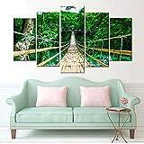 RDCHY Tableaux Muraux - Pont Suspendu Vert Impression sur Toile - 5 Parties - Motif Moderne Decoration pour Salon...
