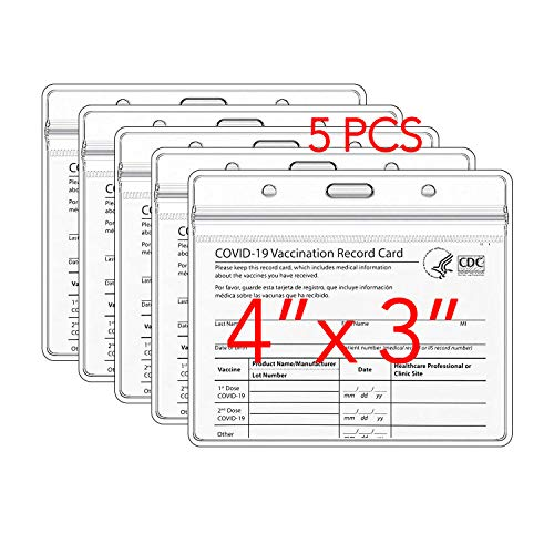 Clear Vaccination Card Protector in CDC Immunization Record Vaccine Card Holder 4x3 Horizontal ID Badge Holder, Clear Vinyl Plastic Sleeve Cover Waterproof Resealable Zip for Events & Travel (5 Pack)