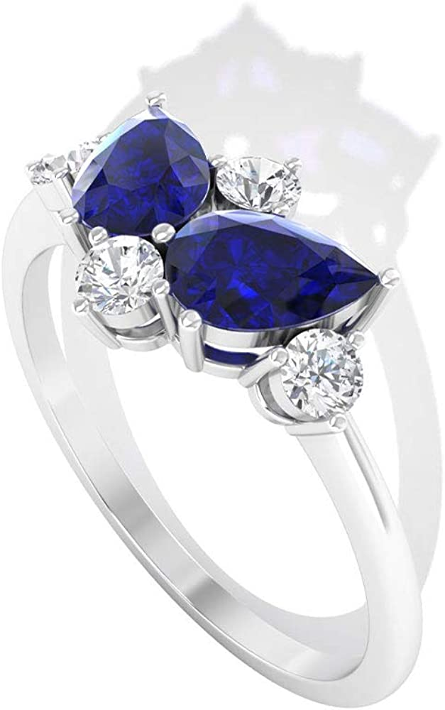 1.26 CT Certified Blue Sapphire Lab Created Diamond Cluster Wedding Ring, Unique Pear Shape Blue Stone Butterfly Engagement Ring, Vintage Promise Birthstone Rings, 14K Gold