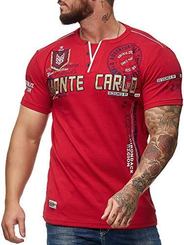 OneRedox Herren T Shirt Hoodie Longsleeve Kurzarm Shirt Sweatshirt Monte Carlo 3459 Rot XXXL