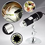 DGCUS USB 2.0 Digital Microscope 1000 x Magnification 8-LED Mini Microscope Camera Magnifier with Stand 2 Mega Pixels