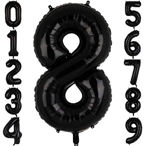 Big Eye Owl Globos grandes de 100 cm, color negro, número 8, de plástico Mylar gigante, globos de helio, para cumpleaños o fiestas