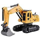 IIIL Camión Vehículo Construcción Control Remoto Excavadora 1/24, RC 6CH Juguete Tractor Recargable Metal para Niños Niñas Regalo Navidad