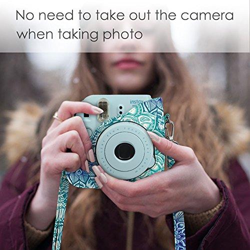 Fintie Protective Case Compatible w/ Fujifilm Instax Mini 8 Mini 8+ Mini 9 Instant Camera - Premium Vegan Leather Bag Cover with Removable Strap, Emerald Illusions(Official Micklyn Le Feuvre Product.)