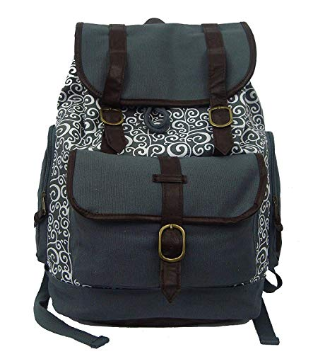 Printed canvas laptop college backpack