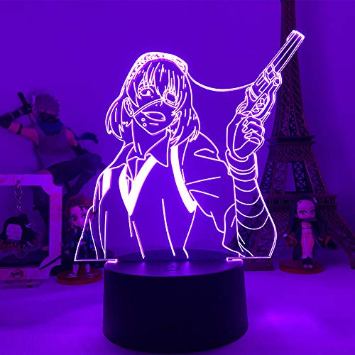 Lámpara de escritorio de mesa de ilusión óptica 3D Jabami Yumeko Gambling7 colores que cambian la decoración de la fiesta del Bar del hogar Regalos de vacaciones para niños-16 color remote control