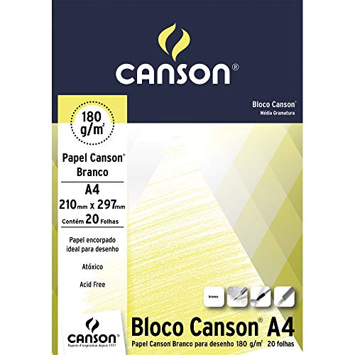Bloco Desenho Branco A4 180g/m², Canson, 66667164, Branco natural, 20 Folhas