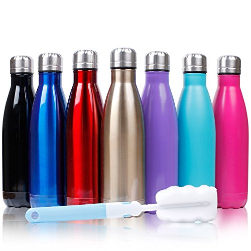 Sfee 17oz Double Wall Vacuum Insulated Stainless Steel Water Bottle Cup - Perfect for Outdoor Sports Camping Hiking Cycling +a Cleaning Brush (Hot Pink)