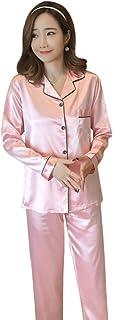 Samwestart Women Pajamas Set Silk Stain Ladies Long Sleeve Nightwear 2 Pieces Set for Lounge, Special Party, Ball (L-4L, 4...