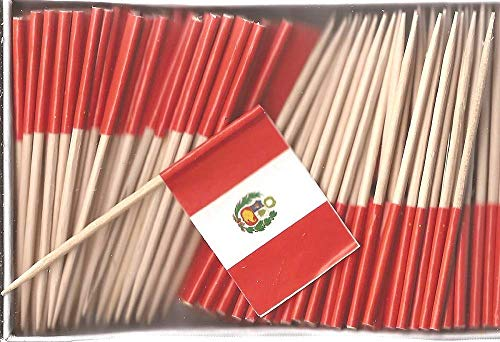 One Box of 100 Country Toothpick Flags, 100 Small Mini International Flag Cupcake Toothpicks or Cocktail Picks (Peru)