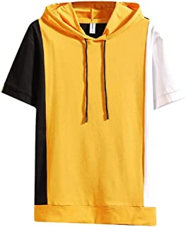 RkBaoye Men's Basic Style Hit Colors Short Sleve Hooded Outwear Sweatshirts