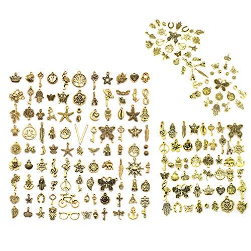 Wenlai 200 Stücke Charm Anhänger zum Schmuck,Antik Vintage Golden Handgemachte Schlüsselzubehör DIY Halskette Ohrring Anhänger für Schmuckherstellung Schmuck Basteln(6mm-29mm)