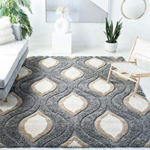 SAFAVIEH Florida Shag Collection SG461 Modern Ogee Non-Shedding Living Room Bedroom Dining Room Entryway Plush 1.2-inch Thick Area Rug, 6'7″ x 6'7″ Square, Grey / Ivory