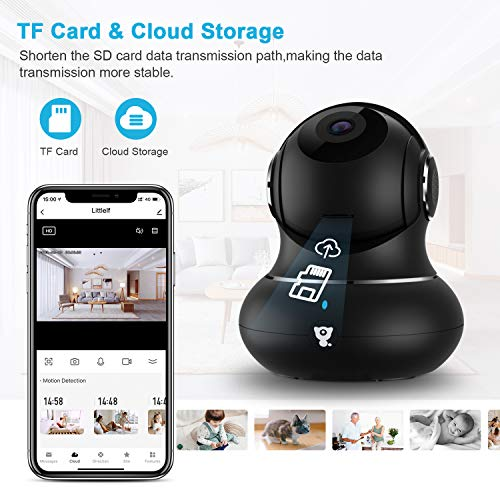 Indoor Wireless Security Camera, [2021 Newest] Littlelf Smart 1080P Home WiFi IP Camera for Pet/Baby/Elder Monitor with Motion Detection/Tracking, 2-Way Audio, Night Vision and Cloud Storage