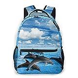 RUPIHU Mochila casual clásica,Los delfines saltan en el mar azul,Mochila para computadora de negocios grande Mochila escolar universitaria