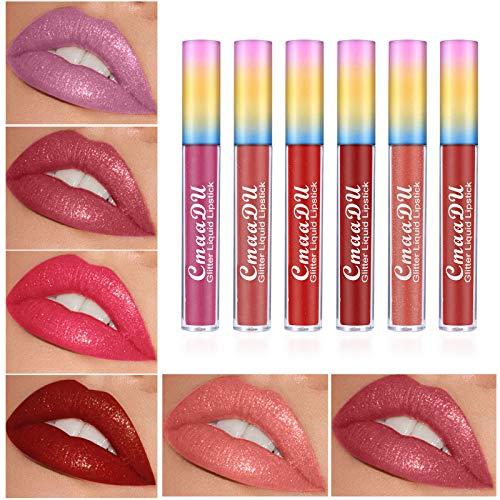 Freeorr 6 Farben Glitter&Shimmer Matt Lippenstift Set Feuchtigkeitsspendender flüssiger Lippenstift Wasserdicht Langlebig Lipstick Lipgloss Diamant Lippenset