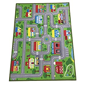 City Street Map Kids' Rug with Roads Kids Rug Play mat with School Hospital Station Bank Hotel Book Store Government Workshop Farm for Boy Girl Nursery Bedroom Playroom Classroom (39″ X 51″)