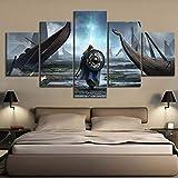 YB Lienzo Pintura Arte de Pared Imagen Modular 5 Piezas/Pieza Viking Movie HD impresin pster decoracin del hogar Moderno Marco de la Sala de Estar, sin Marco, 30x40 30x60 30x80cm