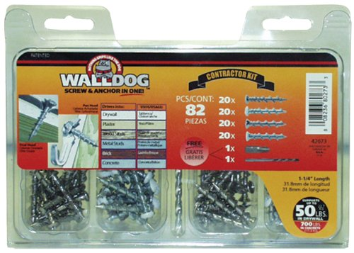 Hillman Group 42073 WALLDOG Screw & Anchor in One Contractor Kit, Pack of 1, 82 Count