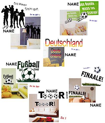 alles-meine.de GmbH 4 Set´s _ XL - Wandsticker -  Fußball  - incl. Name - selbstklebend + wiederverwendbar - Aufkleber für Kinderzimmer - Wandtattoo / Sticker Kinder - Fußballs..