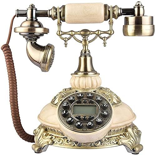 TAIDENG Clásico Europeo Retro teléfono Fijo teléfono Vintage teléfono/teléfono Retro con Resina y Cuerpo de Metal, Campo de rotación Funcional Vintage de Campo Vintage