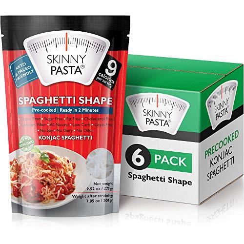 Skinny Pasta 270 gramos – Pasta Konjac Sin Olor (Noodles Shirataki) – Ideal Dietas Keto y Paleo – Sin Hidratos de Carbono – Comida Baja en Calorías (Espaguetis – Pack de 6)