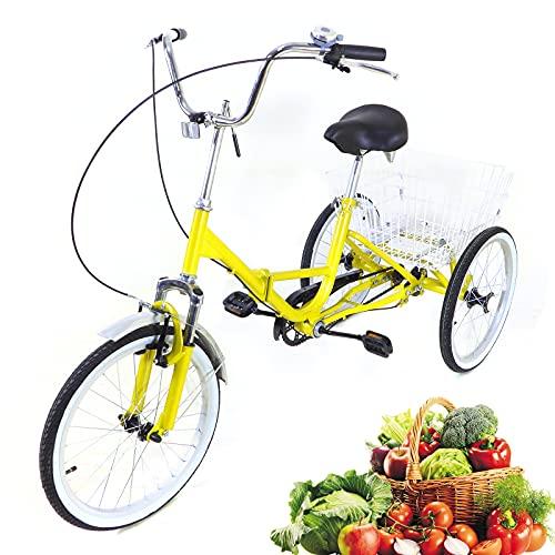 50,8 cm 3-Räder – Erwachsenen-Dreirad, U-Typ, faltbar, Senioren-Einkäufe, Fracht-Dreirad, 1-Gang-Fahrrad mit Licht und Korb, für Outdoor-Sporteinkäufe