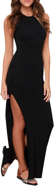 LaSuiveur Women's Sleeveless High Slit Bodycon Summer Beach Vacation Dress