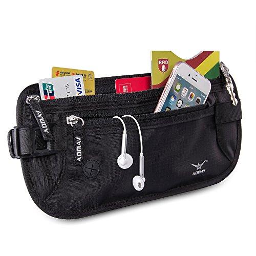 aomay denaro cintura per RFID Portafoglio da viaggio con 6Carta Di Credito Protector e 2Passaporto Porta sacchetto impermeabile Sicuro rfid-blocker Waist Pack Stash, Black, 31*14*1cm