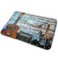 NIESIKKLA バスマット、カラフルな塗装の老朽化した木の板の音楽ギター素朴なカントリーミュージック、マット滑り止め ソフトタッチ 丸洗い 洗濯 台所 脱衣場 キッチン 玄関やわらかマット 40x 60cm