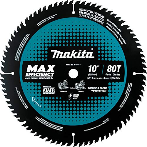 "Makita B-66977 10"" 80T Carbide-Tipped Max Efficiency Miter Saw Blade"