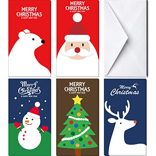 KIDPAR 60Pcs Christmas Card Money Holder in 5 Holiday Cute Festive Designs 30 Christmas Greeting Cards and 30 Envelopes…