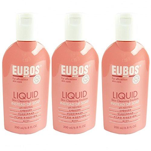 Eubos Flüssig Wasch + Dusch Rot - 3x 200ml - Körper Haut Pflege Reinigung Duft