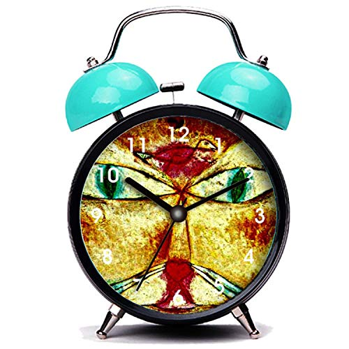 GIRLSIGHT Blauer Wecker, Nette Katze Paul Klee Kunst Katze und Vogel Malerei Twin Bell Wecker mit Nachtlicht