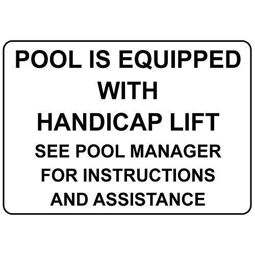 Warnschild Pool is Equipped with Handicap Lift See Pool Manager 8X12 Inches Verkehrszeichen Geschäftsschild Aluminium Metall Zinnschild
