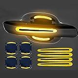 WXJZ Láminas Protectoras para Manilla de Coche para Pintura Protectores 3D Fibra de Carbono Anti-rasguños Prueba de Agua Películas Protectoras de Coche-Set de 8,Yellow