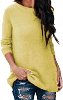 Womens Pullover V Neck Shaggy Solid Color Soft Sexy Long Sleeve Jumper Sweater