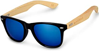 Navaris - Gafas de sol UV400 - Gafas de madera para hombre y mujer - Gafas de sol con patillas de madera - Negro y azul