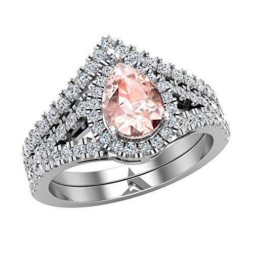 Glitz Design Mujer Niños Hombre Unisex oro 14 quilates (585) oro blanco 14 quilates (585) pera Pink Morganite