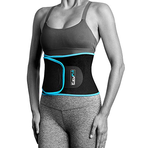 EzyFit Waist Trimmer Premium Exercise Workout Ab Belt for Women & Men Adjustable Stomach Trainer & Back Support, Black Blue Trim Fits 24-42'