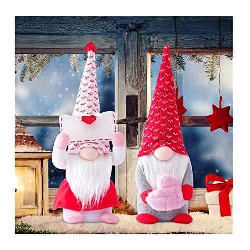 Jobewnipz 2 Stück Valentinstag Deko Wichtel 34 cm Hoch, Schwedische Wichtel Santa Dolls, Liebe Elfen Gnom für Kinder Familie Festliche Geschenk, Ostern Valentinstag Tischdekoration