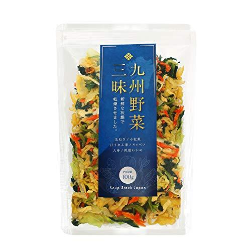 九州野菜三昧 乾燥野菜 国産 無添加 野菜5種類+わかめ ミックス100g (1袋) みそ汁の具 ラーメンの具 カップ麵の具 非常食