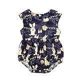 HEETEY - Pijama para recién Nacido, bebé, niña, Conejo, Conejo, Pascua, Bodysuit, Ropa de Ocio, sin Mangas, arnés, Traje de Escalada, Ropa para bebé, Ropa de bebé Marine 80 cm