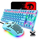 Mechanical Gaming Keyboard Blue Switch Mini 82 Keys Wired Rainbow LED Backlit Keyboard,Lightweight Gaming Mouse 6400DPI Honeycomb Optical,Gaming Mouse Pad for Gamers and Typists(Blue)