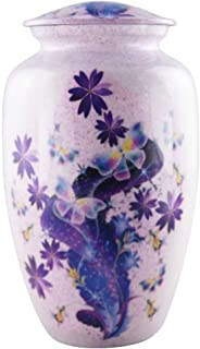 M MEILINXU Funeral Urns for Adults Ashes, Cremation Urn for Human Ashes Adults - Memorials Urns for Ashes - Display Burial Urn at Home or in Niche at Columbarium (Purple Tulip, Aluminum Large Urn